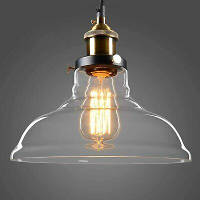 Kitchen Clear Glass Shade Brass Edison LED Bulb Fitting
