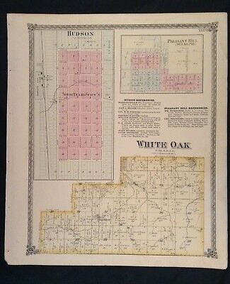 1874 McLean County Illinois Atlas Map Hudson ~ White Oak ~ Pleasant Hill (Selma)