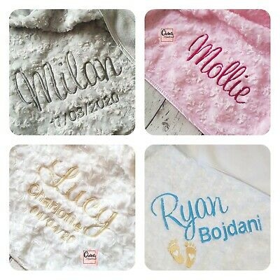 Personalised Baby Blanket Rosebud Embroidered Soft Fluffy Gift With Satin Edge