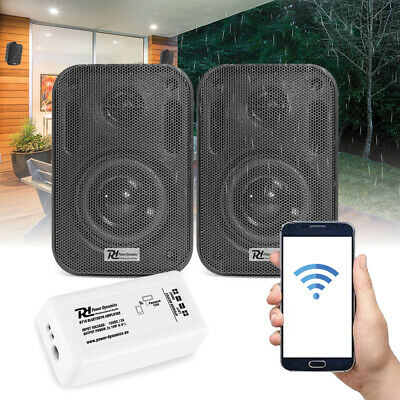 "Bluetooth Wall Speakers and Bluetooth Amplifier System Indoor Outdoor 3"" Black"