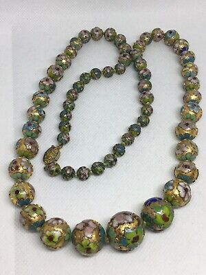 Vintage Chinese Ornate Cloisonne Enamel Graduated Beads Necklace