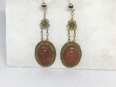 """Vintage Sterling Silver Chinese Export Gold Washed Carnelian Jade Earrings 2.5"""""""