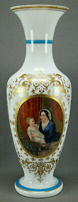 Mid 19th Century French Baccarat Opaline HP Mother Child & Gold 17 3/8 Inch Vase