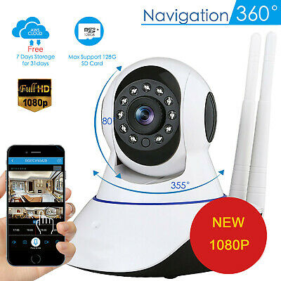 Wireless Security Camera Baby Monitor WiFi*1080P Pan/Tilt IP Home Motion Webcam