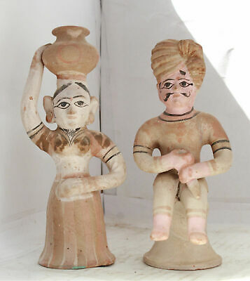 Vintage Clay Terracotta Rajasthani Figure Sculpture Toy Pottery