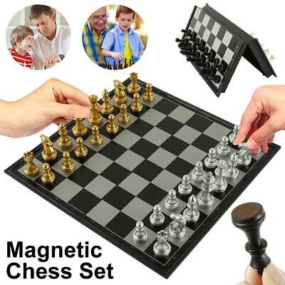 Large Folding Chess Set Wooden Chessboard Magnetic Pieces Wood Board Gift Toy