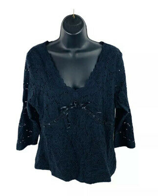 INC International Concepts Womens Petite Shirt Top Long Sleeve Black Size Large