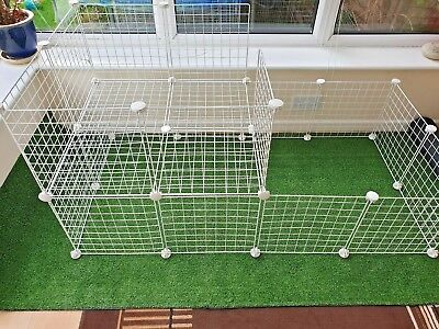 C&C , C AND C  GUINEA PIG RUN / CAGE, WITH 2 x 2 LOFT .  ALL SIZES .  IN WHITE