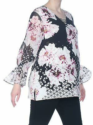JM COLLECTION $54 Womens New 1444 Black Printed Sheer Bell Sleeve Blouse XL B+B