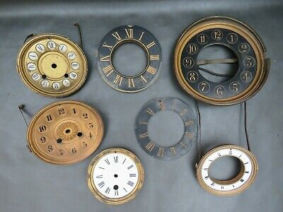 Job lot of clock dials faces chapter rings & part doors - parts spares