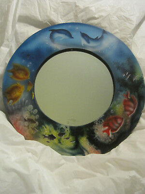 $~Dolphin and Fish Seascape Wood Mirror~Ocean Coral Reef~Hand Painted~LBDLM