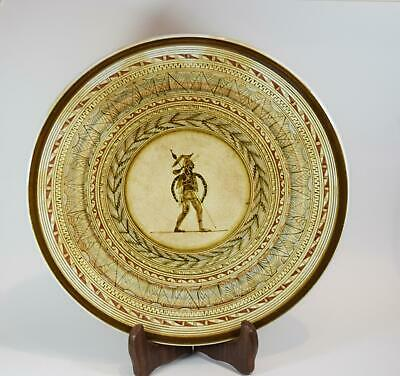 1930s KERAMEIKOS Greek Art Pottery Ceramic Plate Hand Painted Ancient Soldier