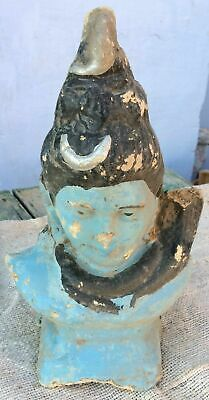 Vintage Hand Made & Painted Paper Mache+Chalk lord Mahadev Statue/Figure