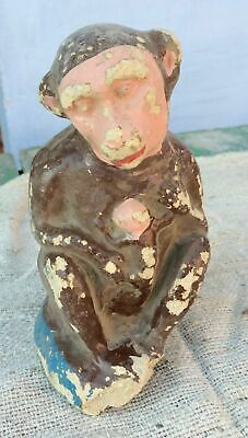 Vintage Hand Made & Painted Paper Mache+Chalk Monkey Holding Baby Statue/Figure