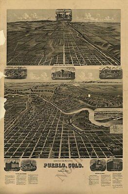 Pueblo Colorado panorama c1890 map 24x36