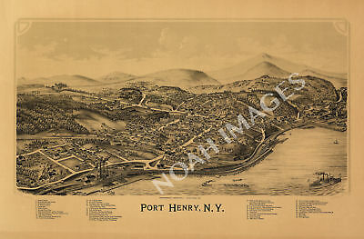 Port Henry NY c1889 map 36x24