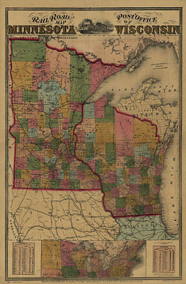 Railroad and Post Office map of MN and WI c1871 map 24x36