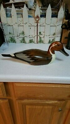Vintage Hand Carved & Painted Wooden Duck Decoy W/ Glass Eyes, Made In Taiwan