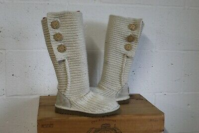 CREAM UGG AUSTRALIA Classic Cardy Knit Boots Size 4.5 37