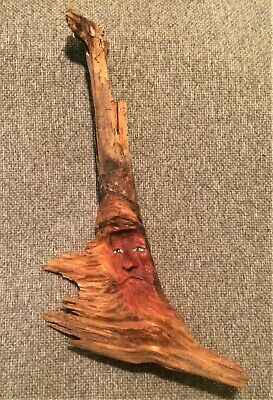 "Hand Carved Wood Spirit Old Man Tree Face Wizard Carving 10"" Tall Free Shipping"