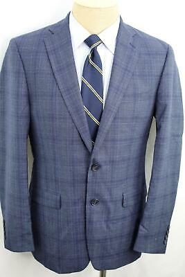 NWOT 42R Calvin Klein Slim Fit Blue Plaid Double Vent Wool Sport Coat Blazer MA0