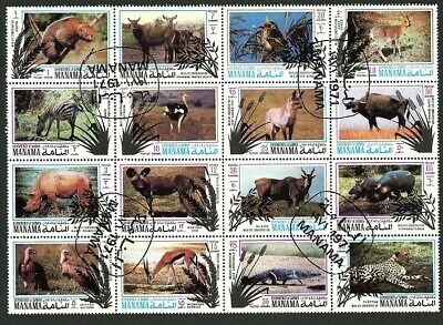 Manama 1971 - Animals Complete Sheet of 16  CTO