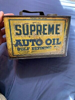 Vintage RARE Early Gulf Refining Supreme Motor Oil One Gallon Oil Can