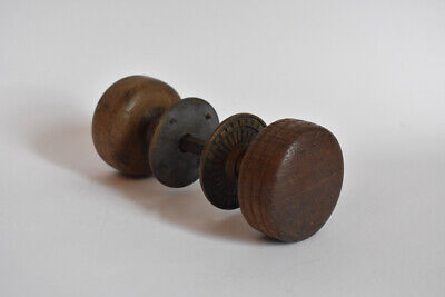 Pair Turned Wood Door Knobs Brass or Bronze Rosettes Victorian Salvage Antique