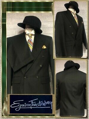 EGON VON FURSTENBERG 36S MINT Wool Double Breasted Green SUIT 30x28 Pants 722122