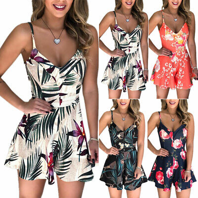 Womens Floral Romper High Waist Strappy Playsuit Summer Casual Short Jumpsuit US