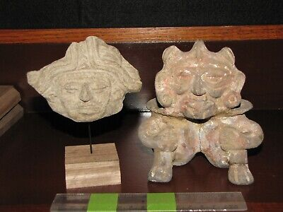 Pre Columbian, Pottery, Meso American Zone, Zapotec, Dual Vessel and Mounted Fra