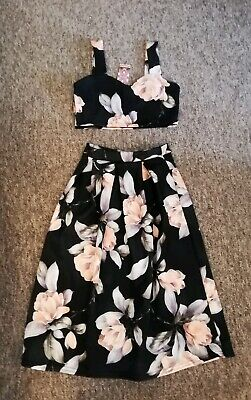 Womens Crop Top And Full Midi Skirt Co-Ord Set Size 12