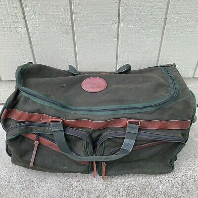 Vtg ORVIS BATTENKILL Large Rolling Duffle Bag Luggage Green Canvas Leather Trim