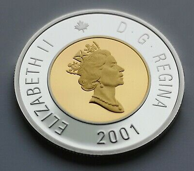 ** Canada  Toonie  2001  ** Proof  Sterling  Silver  With  24Kt  Gold  Plated **