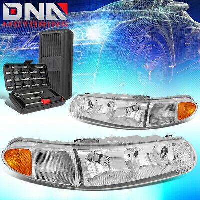 Pair Smoked Housing Clear Side Bumper Headlight for 1997-04 Buick Century//Regal