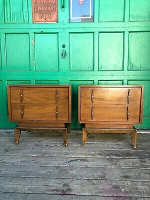 Pair of Mid Century Nightstands with Two Drawers