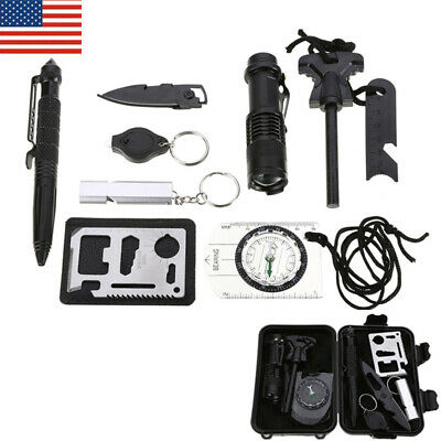 10 in 1 Emergency Camping Survival Equipment Kit Outdoor Tactical Gear Tool Set
