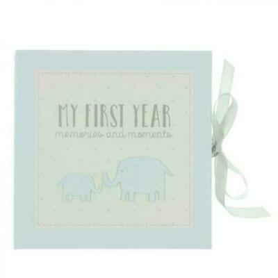 My First Year Blue Record Memory Book Keepsake Baby Shower Gift Boy Memories
