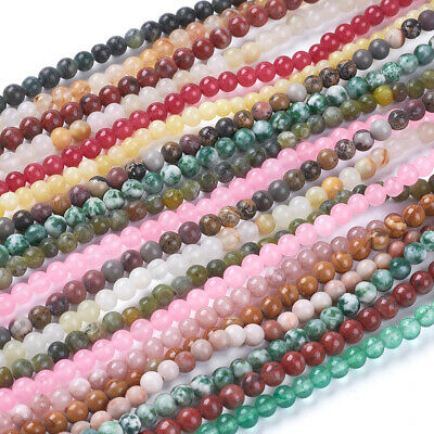 20 Strd Natural Gemstone Jade Beads Round Smooth Loose Spacer Beading Craft 4mm
