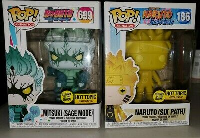 Funko Pop Mitsuki Sage Mode & Naruto Six Path Glow in Dark Hot Topic Exclusive