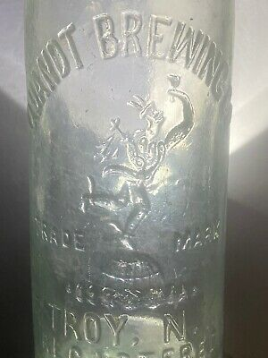 Antique Quandt Brewing Co Beer Bottle Circa 1900 Indian Pictoral