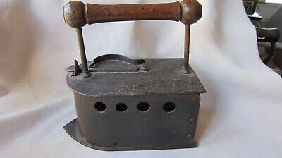 "Vintage Heavy Iron With Wooden Handle Very Unusual  9"" Long 8 3/4"" Tall"" GC"