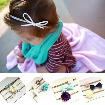 Infant Toddler Kids Baby Tiara Elastic Flower Bow Hair Band Kid Headband