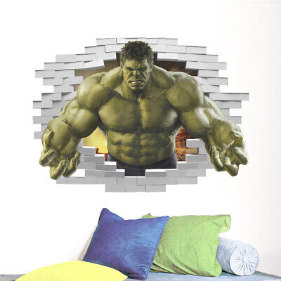 3D Hulk Wall Stickers The Avengers Superhero Vinly Decals Kids Baby Room Decor