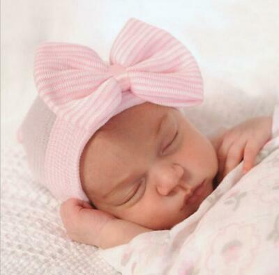 Baby Girl Boy Infant Pink Striped Soft Hat With Bow Hospital Newborn Beanie Cap