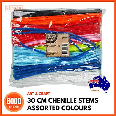6000 x PIPE CLEANER CHENILLE STEMS 30cm Assorted Colours Tinsel Stems Craft BULK