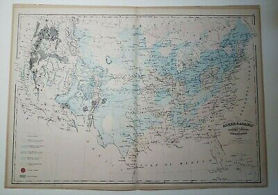 """1872 Asher & Adams' Geological Map United States And Territories 24""""x17"""""""