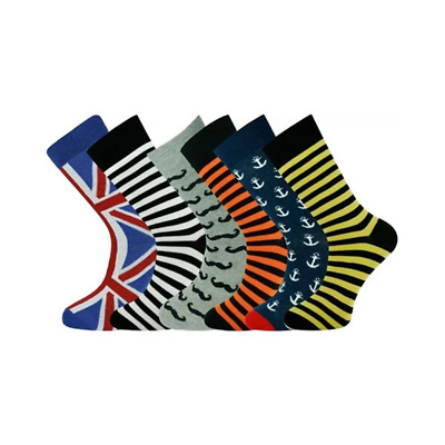 6 Pairs Ankle Socks Multi Design 05 Size 7 To 11