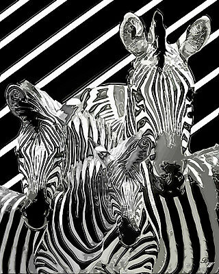 8903-SLG BW Zebra Striped Fine Art Nude Woman Print Signed Chris Maher