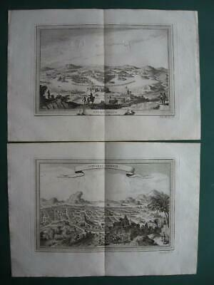 1754 - PREVOST VOYAGES - MEXICO 2 Engravings MEXICO CITY Ancient & New